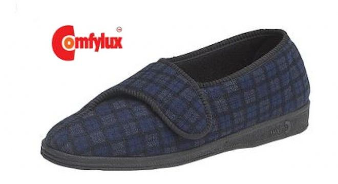 Comfylux 'PAUL' wide fitting Touch & Close Slippers NAVY